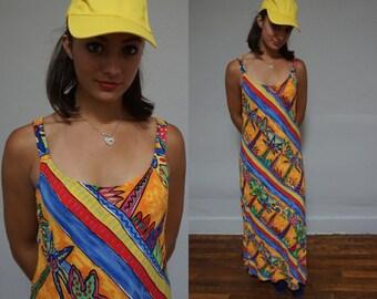 90s club kid west coast palm tree urban spaghetti strap maxi long sun summer colorful Lambdin L large batik dress kitsch hipster triply