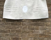 Monogram Curtain, Custom Natural Grey Linen Valance, Window Topper, Cantonniere
