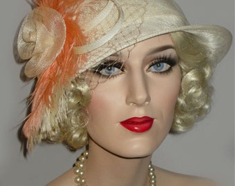 PEACHES & CREAM- Couture Ivory And Peach Kentucky Derby Hat, 20s Great Gatsby Hat, Ivory Sinamay Cloche, Downton Abbey Hat, 20s Wedding Hat