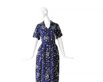1950s NOVELTY PRINT Dress • 50s Dress • Navy Brushstroke Dress • M / L Medium Large