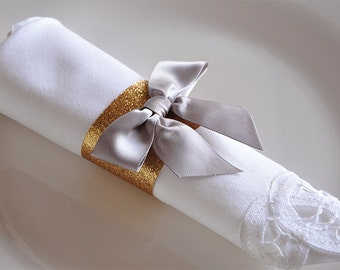 40th Birthday Decoration Napkin Rings.  Handcrafted in 2-3 Business Days. Gold Napkin Rings with Bows 10CT.
