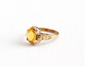 Sale - Vintage Art Deco 10k Rosy Yellow Gold Simulated Citrine Ring - Size 3 Ostby & Barton Yellow Glass Stone Petite Pinky Fine Jewelry