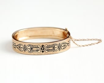 Antique 10k Rosy Yellow Gold Filled Victorian Hinged Bangle Bracelet - Patented Dated 1874 Geometric Flower Vine H&B Jewelry