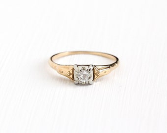 Sale - Vintage 14k - 18k Yellow & White Gold Old Mine Cut 1/10 Carat Diamond Solitaire Ring - Art Deco 1930s Fine Engagement Bridal Jewelry