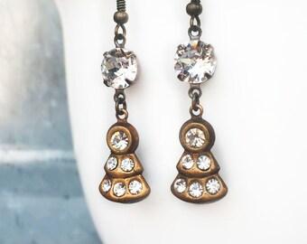 Gift Earrings for Girlfriend - 1920s Wedding Jewelry - 1920s Wedding Accessories - Gatsby Wedding Jewelry - Delicate Wedding Earrings