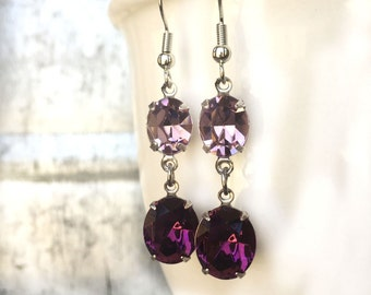 Dangle Earrings - Two Stone Jewelry - February Birthstone - Dangly Earrings - Glittering Earrings - Glamorous Earrings- Old Hollywood