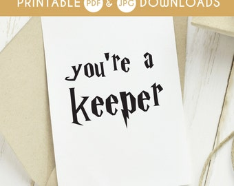 70% OFF SALE you're a keeper, harry potter card, you are a keeper, harry potter greeting card, harry potter love card