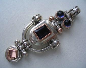 WOMEN SILVER PENDANT/ handmade silver gold  pendant/ handmade silver pendant/ iolite purple stone/ silver handmade jewelry/ pendant gemstone