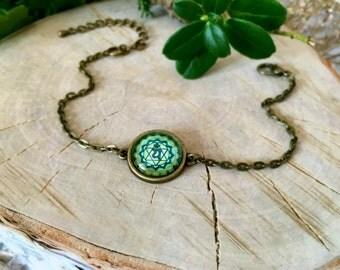 Anahata Chakra Bracelet, Antique Bronze Bracelet, Glass Cabochon, Chain Bracelet