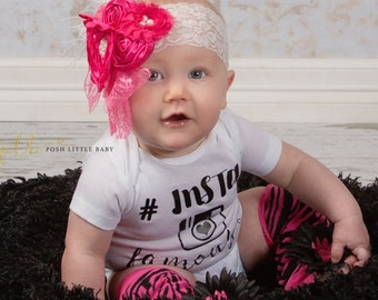 Hot Pink Lace Feather Headband, Baby Headband, Baby Girl Headband,Lace Headband, Feather Headband, Vintage Headband, Flower Girl Headband
