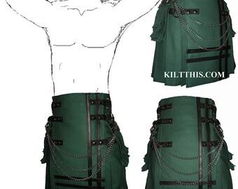 Interchangeable Hunter Green Canvas Cargo Utility Kilt Leather Double Cross Design Adjustable Custom Fit Many Options