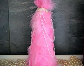 """Pink Feather Tree Draped w/ Lace & Faux Pearls - Christmas, Wedding, Bridal, Baby, Holiday Decor 10"""""""