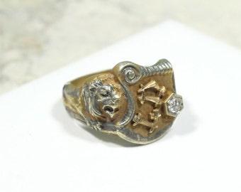Vintage Lion Ring with Diamond 1900's Statement Ring Royal Ring 14k Gold