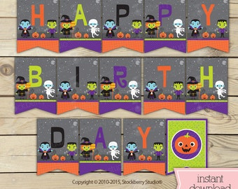 halloween birthday banner halloween printables kids halloween party halloween birthday party halloween - Halloween Birthday Party Decorations