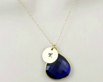 Sapphire Necklace, Gold Initial Necklace, Stone Necklace, Gemstone Necklace, Personalized Necklace,Initial Jewelry,Pendant Necklace,Monogram