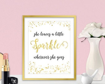 Canvas Wall Art - She Leaves A Little Sparkle - Inspirational Wall Art - Inspirational Gifts For Girls - Gold Home Decor