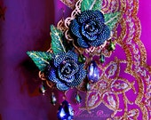 Sapphire Blue & Green Sparkly Rhinestone Rose Chandelier Earring, Colorful Holiday Jewel Earrings, Floral Costume Jewelry, Sparkly!