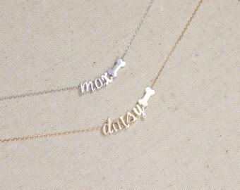 SUMMER SALE Dog Bone Necklace with Name, Pet Lover, Dog, Doggie Bone, Best Friends, Dog Lover, Pet Name, Animal Lover