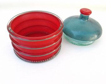 Vintage Tobacco Humidor | Glass Vanity Jar | Modern Art Glass | Apothecary Jar | Art Deco Dresser Jar