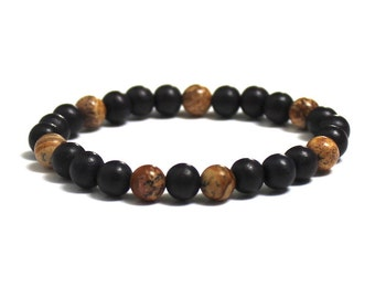 Men Wood Bracelet Picture Jasper Mens Inspirational Jewelry Gift for Son Graduation, Worry Beads Rehab Get Well Strength Healing Crystals