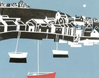 Boats and Harbour,Limited Edition - Rare Artist Proof Linocut Print ,Printmaking - Original Print, Hand Pulled