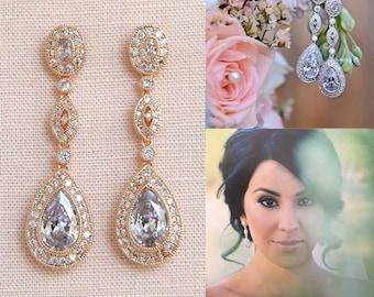 Rose Gold Bridal Earrings, Wedding Earrings, Long Dangle, Vintage style,  Yellow Gold, Swarovski, Bridal Jewelry, Christine Vintage Earrings