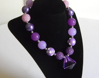 Girls Boutique Necklace Purple and White with Purple Teardrop Portraits Birthday Gift Pageant Back to School Bubble Bead Jewelry Jasmine
