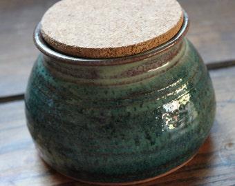 Handmade ceramic pottery canister sugar jar honey pot with cork lid in seafoam green