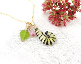 Monarch Butterfly Caterpillar Pendant, Butterfly Lover Gift, Garden Theme Pottery Jewelry, Metamorphosis Necklace, USA Artisan Handmade