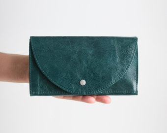 Clutch Wallet Deep Lake Green, Leather Clutch, Secretary Wallet, Big Leather Wallet