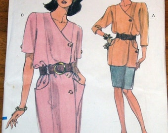 Vogue 8023 Coat Dress, Surplice Top, Pencil Skirt Women's Misses Vintage Easy Sewing Pattern Size 12 14 16 Bust 34 36 38 Uncut Factory Folds