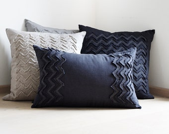 Lumbar pillow cover hand made of dark charcoal grey soft linen Textured embroidered cushion