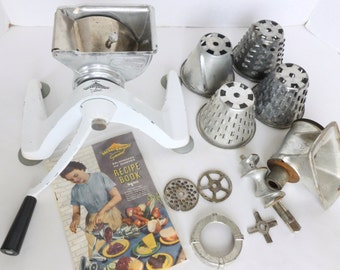 Merry Grinder by General Meat Grinder and Vegetable Shredder Chopper Lot with Attachments