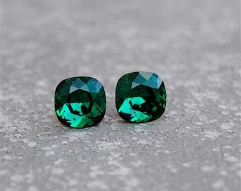 Emerald Earrings Vintage Swarovksi Crystal Emerald Green Stud Earrings Mashugana
