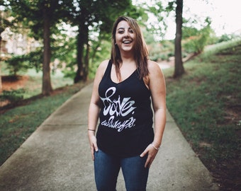 Plus Size - Black and White Tank Top - Womens Flowy V Neck - Soft Black Tank - Size XXL - Love Always - Gift For Her - Charity Donation