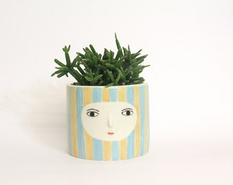 Striped vase with face -  ceramic cache-pot - container