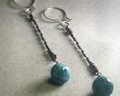 Long Chrysocolla Sterling Silver Forged Twist Earrings blue stone semi precious