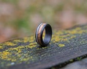 Carbon Fiber Ring with Whiskey Barrel Oak and Deer Antler