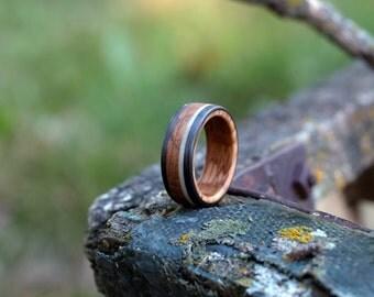 Whiskey Barrel & Antler Ring - Carbon Fiber Band
