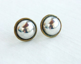 Mixed Metal Button Earrings Vintage Mexican Sterling Silver and Brass Domes Pierced Posts Studs Everyday Jewelry