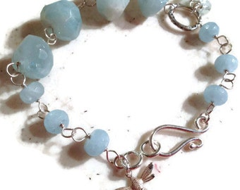 Aquamarine Bracelet - March Birthstone - Sterling Silver Jewelry - Bee Charm - Wire Wrapped