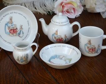 Wedgwood Beatrix Potter Peter Rabbit China Tea Set, Peter Rabbit Dishes, Wedgwood Child's China Tea Set