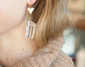 Camp -- crystal quartz and triangle statement earrings