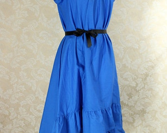 """Cap Sleeved Ragamuffin Dress in Blue Cotton -- Size S, Fits Bust 33""""-36"""" -- Ready to Ship"""