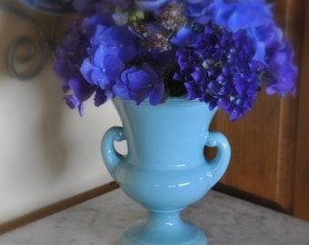 """HAEGER Pottery Urn Style Vase - Turquoise Aqua Blue 9"""""""