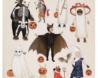 Halloween Party Decor, Art Illustration Print, Trick-or-Treat, Children's Room Decor,