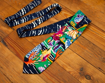 90s Crazy Colorful Tropical Fish Men's Necktie - ADDICTION - silk tie