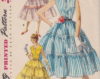 1955 Rockabilly Shirtwaist Dress Vintage Pattern, McCalls 1082, Full Tiered Twirly Gathered Skirt, Buttons Square Neck Dainty Collar Size 18