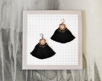 Black Tassel Earrings, Tassel Jewelry, Boho Earrings, Chandelier Earrings, Hippie Earrings, Statement Earrings, Fabric Earrings