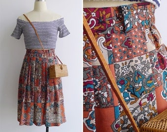 Vintage 80's 'Stained Glass Kaleidoscope' Pleated Skirt S